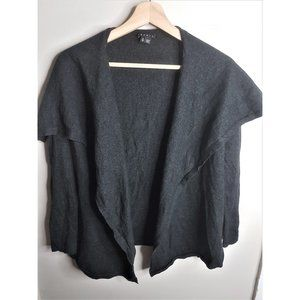Theory Charcoal Gray Open Waterfall Wool Cardigan